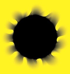 Black smoke circle on a yellow background vector image