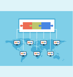 Blockchain technology public vector