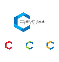 C letter logo template icon design vector