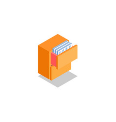 Cabinet drawer with documents icon symbol vector