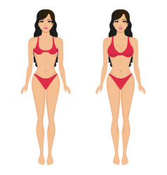Cartoon girl breasts before and after vector