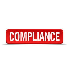 Compliance red three-dimensional square button vector