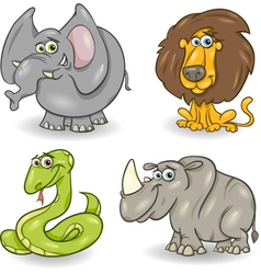 cute wild animals set vector image vector image