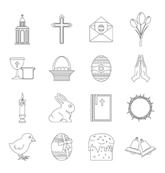 Easter items icons set outline style vector