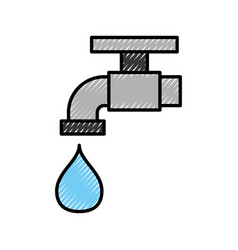 Faucet with drop water vector