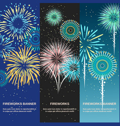 Festive firework abstract vertical banners vector