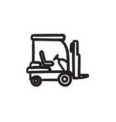Forklift sketch icon vector