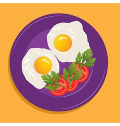 fried eggs and vegetables vector image