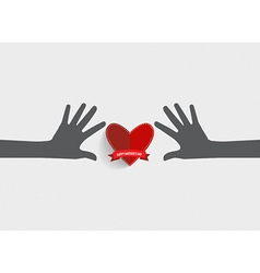 Hands holding heart Heart paper with ribbon vector image vector image