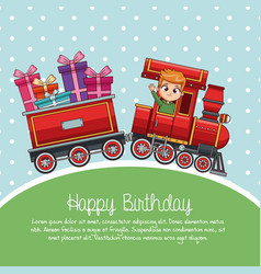 Happy birthday train cartoon vector