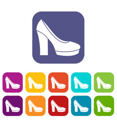 High heel shoes icons set vector
