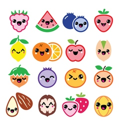 Kawaii fruit and nuts cute characters design vector image vector image