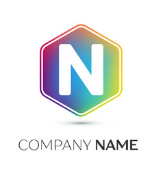 Letter n logo symbol in the colorful hexagonal on vector
