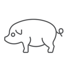 Pig thin line icon farming and agriculture pork vector