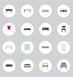 Realistic mattress commode settee and other vector