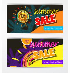 summer sale template banner set vector image vector image