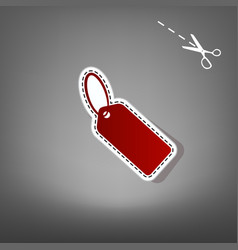 Tag sign red icon with for vector