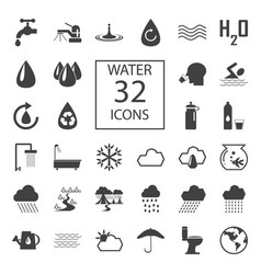 water 32 icons vector image