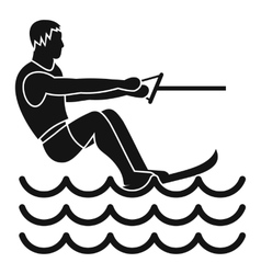 Water skiing man icon simple style vector