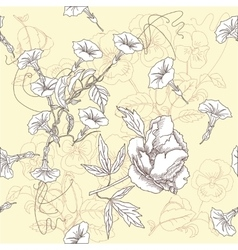 Seamless pattern with peonies and bindweed vector image
