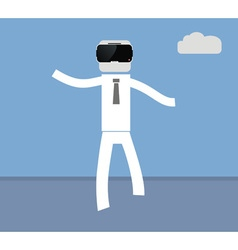 man goes in VR glasses vector image