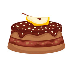 Chocolate cake torte with apple topping vector