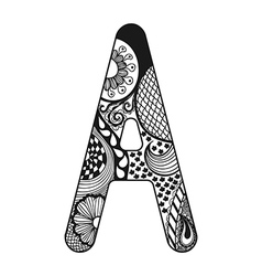 Zentangle stylized alphabet lace letter a in vector