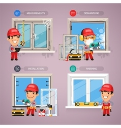 Window installation step by step with handyman vector