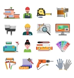 Interior flat icons vector
