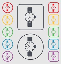 Watches icon symbol symbols on the round and vector