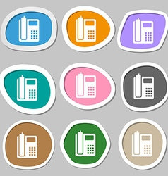 Home phone symbols multicolored paper stickers vector