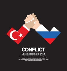 Turkey vs russia arm-wrestle vector