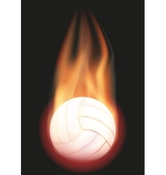Volleyball ball with flame vector