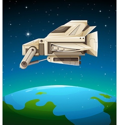 Spaceship flying over the world vector