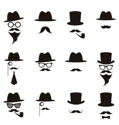 Black gentleman portrait icon set vector