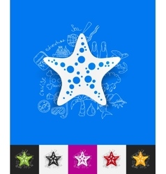 Starfish paper sticker with hand drawn elements vector