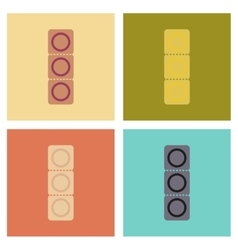 Assembly flat icons condom contraceptive vector