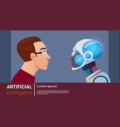 Artificial intelligence man with modern robot vector