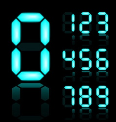 Blue glowing digital numbers vector