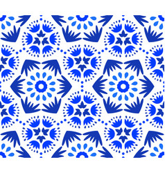 Catchy indigo blue flower pattern vector