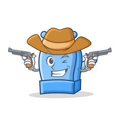 cowboy pencil sharpener character cartoon vector image