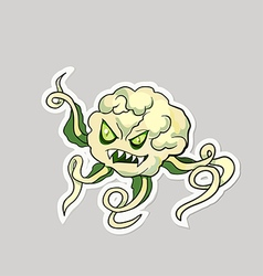 Dangerous cartoon monster cauliflower with vector image