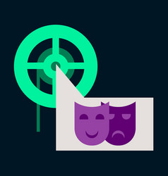 Flat icon film mask vector