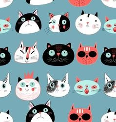 Graphic seamless pattern portraits of cats vector image vector image