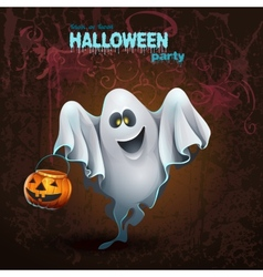 Halloween card with a cute ghostr vector image