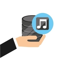 hand holds data music icon vector image vector image