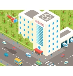Isometric hospital and ambulance building with vector
