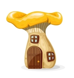 Mushroom house with door and windows vector