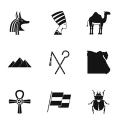Pharaon of egypt icons set simple style vector