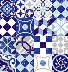 Seamless pattern vintage blue tile decoration vector